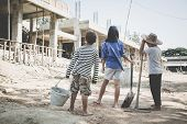 Poor Children Work In Construction Sites Because Of Poverty, Child Labor, Human Trafficking, World D poster