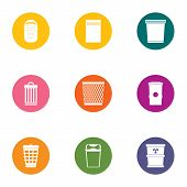 Waste Material Icons Set. Flat Set Of 9 Waste Material Icons For Web Isolated On White Background poster