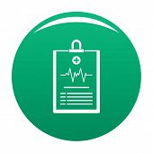Cardiogram On Tablet Icon. Simple Illustration Of Cardiogram On Tablet Icon For Any Design Green poster