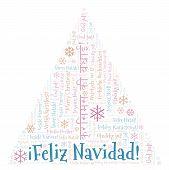 Feliz Navidad Word Cloud - Merry Christmas On Spanish Language. International Christmas Concept. poster