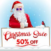 Christmas Sale Invitation Banner With Cool Santa Claus In Glasses, Cool Bullfinch In Glasses, Red Ad poster