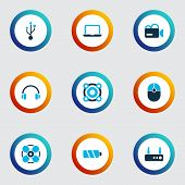 Electronics Icons Colored Set With Headphone, Usb, Router And Other Wifi Elements. Isolated  Illustr poster