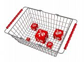 Discounts In The Shopping Basket. Red Cubes With Percentages Of Discounts Are In The Grocery Basket. poster