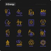 Energy Thin Line Icon: Factory, Oil Platform, Hydropower, Wind Energy, Power Socket, Radioactivity,  poster