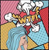 Woman Saying Wtf Pop Art Style Vector Illustration Design poster