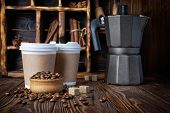 Take-out Mock-up Paper Cups With Coffee Beans And Geyser Coffee Maker On Rustic Wooden Background poster