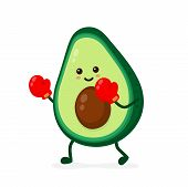 Cute Smiling Strong Avocado Fighting In Boxing Gloves.vector Flat Cartoon Character Illustration Ico poster