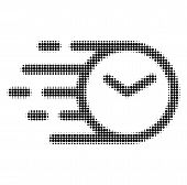 Clock Halftone Dotted Icon With Quick Speed Effect. Vector Illustration Of Clock Designed For Modern poster