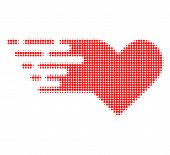 Valentine Heart Halftone Dotted Icon With Fast Speed Effect. Vector Illustration Of Valentine Heart  poster