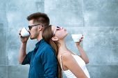 You Can Do Coffee Date Any Time. Girlfriend And Boyfriend Have Espresso Or Latter Drink. Couple In L poster