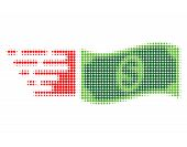 Flying Dollar Banknote Halftone Dotted Icon With Fast Speed Effect. Vector Illustration Of Flying Do poster