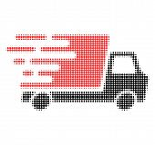 Delivery Car Halftone Dotted Icon With Fast Speed Effect. Vector Illustration Of Delivery Car Design poster
