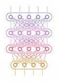 Multi Level Neural Network. Artificial Intelligence Concept. Computer Neuron Net. Logical Scheme Of  poster