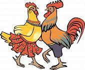 Dancing cock and hen