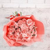Beautiful Bouquet With Roses, Dianthus, Hypericum, Clove In Color Of Year 2019 Living Coral Concept. poster