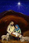 Christmas Story. Christmas Night, Mary, Joseph And The Baby Jesus, Son Of God , Symbol Of Christiani poster