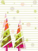 eine Vektor-Grußkarte mit bunten Baum, Schnee Schneeflocken, floral, Linie für Weihnachten, Neujahr & andere occ
