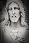 stock photo of sacred heart jesus  - White marble head of Jesus Christ - JPG
