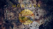 Very Grungy Vintage Montana Flag, Grunge Background Texture poster