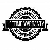 Lifetime Warranty Stamp On White Background. Sign, Label, Sticker. poster