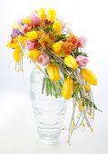 Colorful Flowers Bouquet Arrangement Centerpiece In Vase