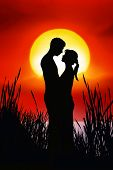 stock photo of tawdry  - romanicallly couple in natur with lightning effect - JPG