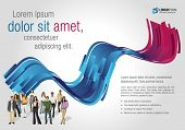 Blue and pink template for advertising brochure with business people