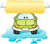 stock photo of car wash  - Cartoon car washing with roller brush and water splash - JPG