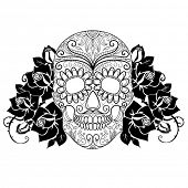 Skull and roses, black and white Day of the Dead card