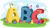 Illustration Featuring Different Shapes, Colors, and Letters of the Alphabet