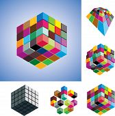 Illustration Of Colorful And Mono-chromatic 3D Cubes Arranged In Various Ways Showing Them In Differ