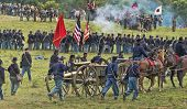 SHARPSBURG, MARYLAND - SEPTEMBER 16:The battle rages at the 150th anniversary of the civil war battle in Antietam on September 16, 2012 in Sharpsburg, Maryland. Actual battle took place on 9/17/1862.