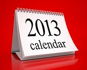 Calendar 2013 In Red Background