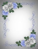 Roses Blue And White Invitation 2