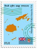 stamp with map and flag of Fiji