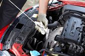 foto of grease  - Auto mechanic checking oil - JPG