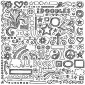 Back to School Sketchy Notebook Doodles with Flowers, Shapes, Hearts, Stars, Arrows and More- Hand-Drawn Vector Illustration Design Elements on Lined Sketchbook Paper Background