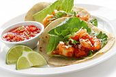 Постер, плакат: креветок tacos тако де Камаронес мексиканская кухня