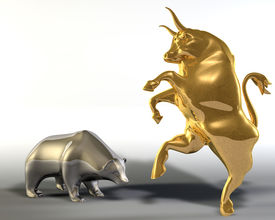 stock photo of nyse  - Digital 3d illustration of two statues representing a rampant golden bull and a bowed down bear - JPG