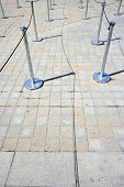 Close-Up view of Stanchions marking out queue