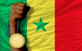 Gold Medal For Sport And  National Flag Of Senegal