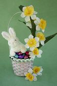 Easter Egg Basket With Bunny And Flowers.