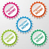 Register Now Star Paper Labels