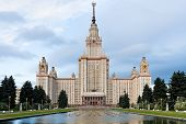 image of gory  - front view of main building of Lomonosov Moscow State University - JPG