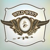 stock photo of 9mm  - wild west cowboy element emblem background brown - JPG