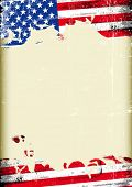 Grungy US flag. A poster with a large scratched frame and a grunge flag of united states for your publicity.
