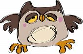 picture of sleepy  - Cartoon brown baby owl in a naif childish drawing style looking sleepy - JPG