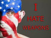 Man Face Flag Usa, I Hate Weapons, Looking At Side