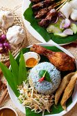Nasi kerabu, popular Malaysian Malay rice dish. Traditional east coast blue rice. Famous in states s