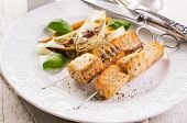salmon skew grilled with vegetables